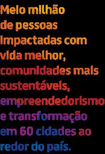 """Arte all type em fundo branco com palavras coloridas, em degradê, nas cores que representam o Instituto BRF - amarelo, laranja, vermelho, azul e roxo. O texto diz: """"Meio milhão de pessoas impactadas com vida melhor, comunidades mais sustentáveis, empreendedorismo e transformação em 60 cidades ao redor do país""""."""